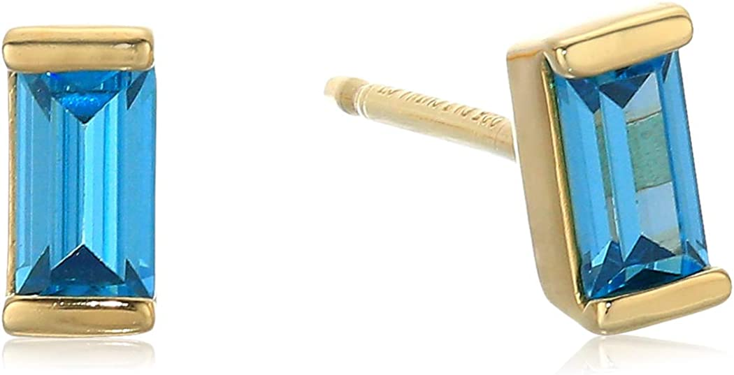 18K Yellow Gold Plated Sterling Silver Baguette Stud Earrings