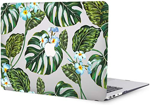 MacBook Air 13 inch Case 2010 2011 2012 2013 2014 2015 2016 2017 Release A1369 A1466, Green Leaf Pattern Plastic Hard Shell Case Compatible with MacBook Air 13' Old Version -Grey & Green
