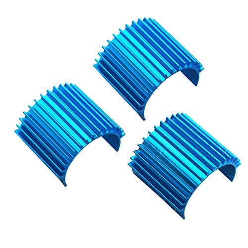 3Pack Mirthobby Aluminum 370 380 Brushless Brushed Electric Motor Heat Sink Heatsink Cooling Fins for 1/16 1/18 HSP HPI Wltoys Himoto Redcat Traxxas 1/16 RC Car Boat Truck (Blue)