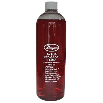 Dwyer Red Gage Fluid, A-104, 1 qt Bottle.826 Specific Gravity