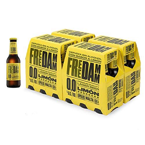 Damm - Cerveza Sin Alcohol con Limón 00 Free Damm Limón, Caja de 24 Botellas 25cl | Cerveza 0,0 con Limón en Lata, Limones Maduros, Limas Ácidas, Cuerpo Y Frescor, Original, Muy Refrescante