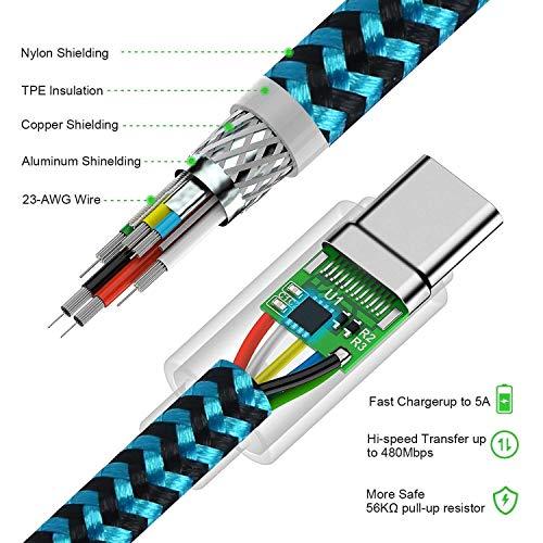 DUX DUCIS Kabel [2 Stück 1M] für Huawei P30 / Huawei P30 Pro/Huawei P30 Lite, Durable Nylon Supercharge USB C Ladekabel für All Huawei Type C Device - 6
