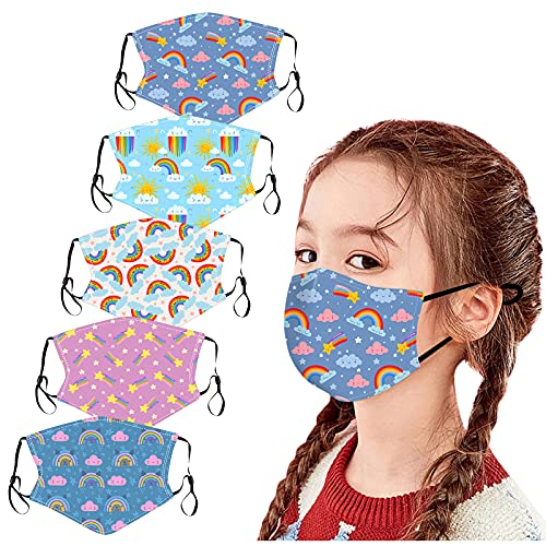 5PC Masque_Enfant Tissu Coton Lavable réutilisable Face Scarfs Anti-Pollution Respirant Bandeaux Impression Dessin animé Mignon garçon Fille Sport...