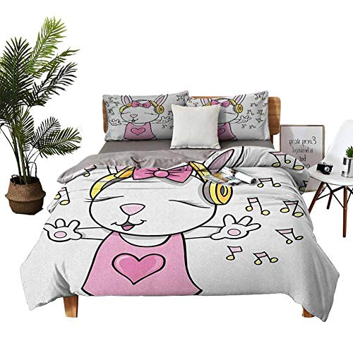 DRAGON VINES 4pcs Bedding Set Silk Sheets Winter Bed Sheets Cute Rock Star Rabbit Bunny with Speakers Music Notes Girls Humor Heart Cartoon Baby Pink Yellow Bed Sheets King Size Deep Pocket W68 xL90