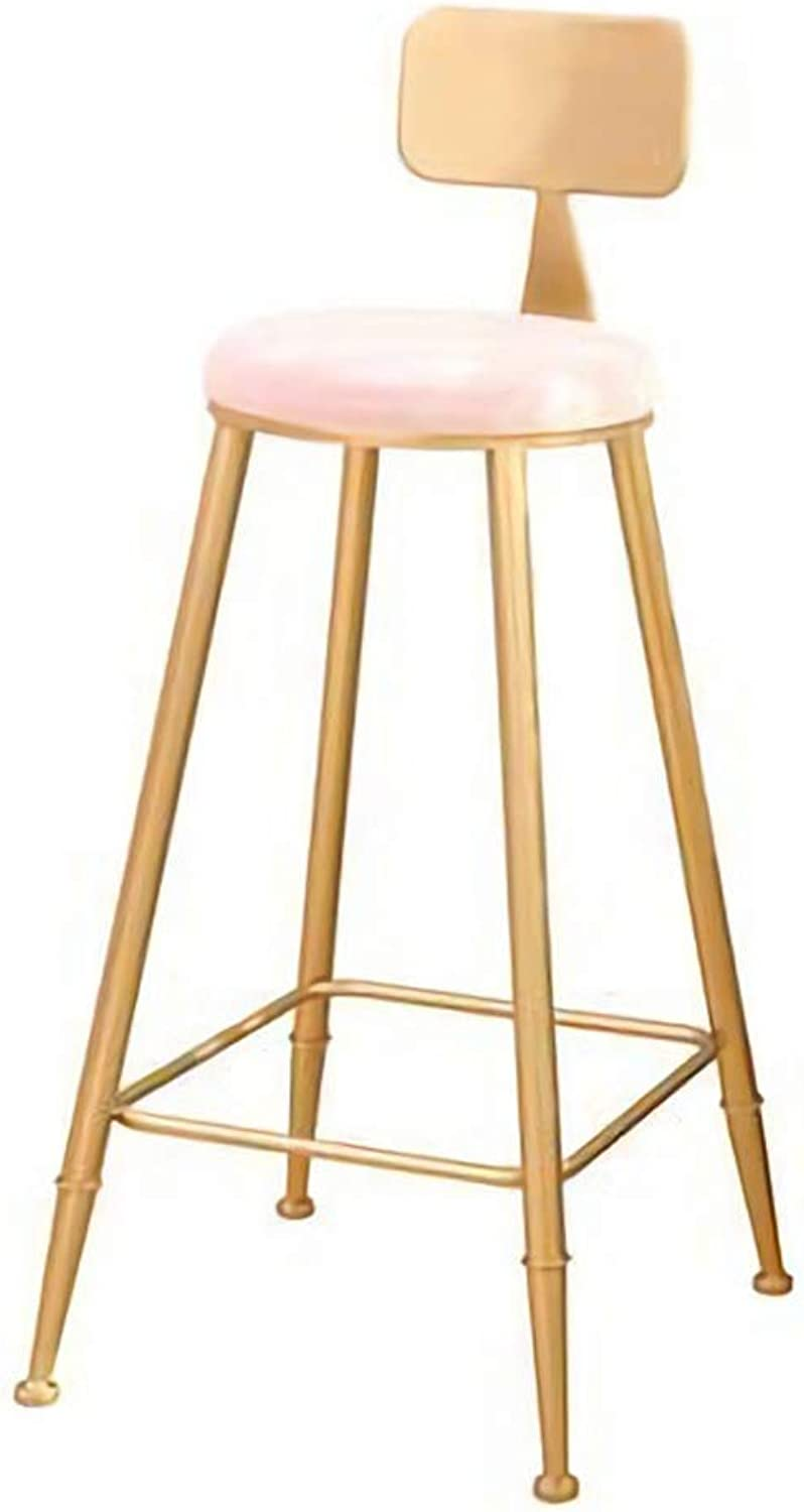 QianLiJiaJi Bar Stool-Barstools with Back Rest for Kitchen Bar High Stools gold Metal Pink Velvet Cushion Modern Dining Room Chairs Seat Height 46x46x90cm Modern bar Chair (color   Beige)