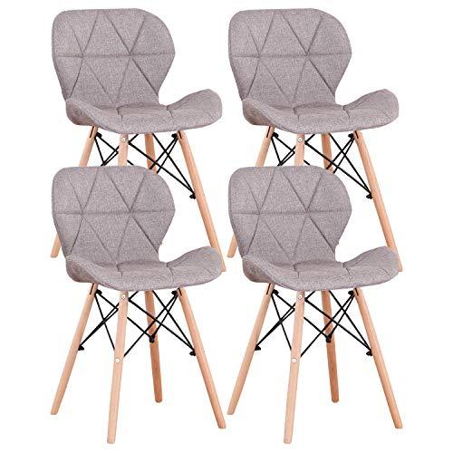 Injoy Life Lot de 4 chaises de salle à manger modernes avec pieds en bois massif, style rétro, en tissu de lin pour salon, salle à manger, chambre à coucher, bureau, café