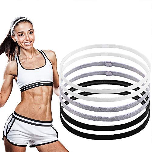 LABOTA 6 Stück Sport Stirnbänder Schlanke Antirutsch Elastische Stirnbänder Anti Rutsch Haarband Stirnband für Fußball, Basketball, Fußball, Tennis, Yoga und Golf (Schwarz, Weiß und Grau)