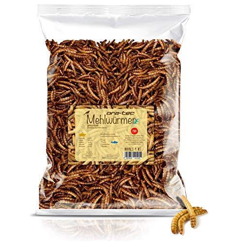 Ora-Tec 1 Kg Mehlwürmer getrocknet 1 Kg Beutel Naturprodukt mit Premiumqualität, proteinreiches Nahrungsmittel für Vögel, Fische, Schildkröten, Nager, Reptilien UVM.