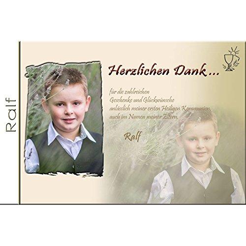 15 Individuelle Fotokarten als Danksagung, Danksagungskarte K69, Kommunion, Konfirmation, Firmung im Format 10x15 cm inkl. hochwertigem farbigen C6 Umschlag