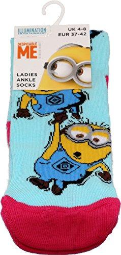 socksPur 1 PAAR MINIONS LADYS & TEENAGER LUSTIGE SÖCKCHEN (one size = 37-42, MINIONS: Ladys 5)