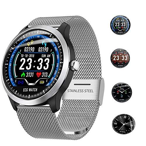 Smartwatch, Fitness Armband, Wasserdicht Smart Watch Fitness Tracker Uhr Mit Farbbildschirm, Damen Herren Armbanduhr Pulsmesser SMS Beachten Sportuhr Passend Für Android IOS (Silber)