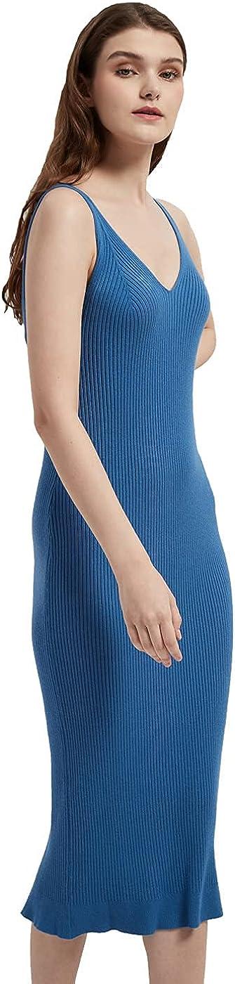 RZIV Women's Sleeveless Sweater Dress Knit Slim V Neck Bodycon Midi Stretchable Elasticity Slim Fits