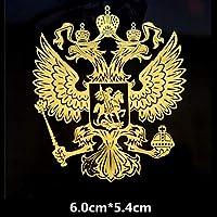 BBYT 車のステッカーロシア連邦国民のエンブレム3D電話のタブレットのラップトップの自動調整スタイリングD50のためのニッケルメタルクリエイティブデカール (Color Name : Medium Gold)
