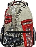 ロンドンの車の時計 リュックバック リュックナップザック バッグ ノートパソコン用のバッグ 大容量 バックパックチ キャンパス バックパック 大人のバックパック 旅行 ハイキングナップザック