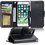 Arae Case for iPhone 7 / iPhone 8 / iPhone SE 2020, Premium PU Leather Wallet Case with Kickstand and Flip Cover for iPhone 7 / iPhone 8 / iPhone SE 2nd Generation 4.7 inch, Black
