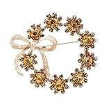 broches de las mujeres de las niñas, cristal círculo arco broches para las mujeres vintage otoño moda Pin lujo joyería regalo champange