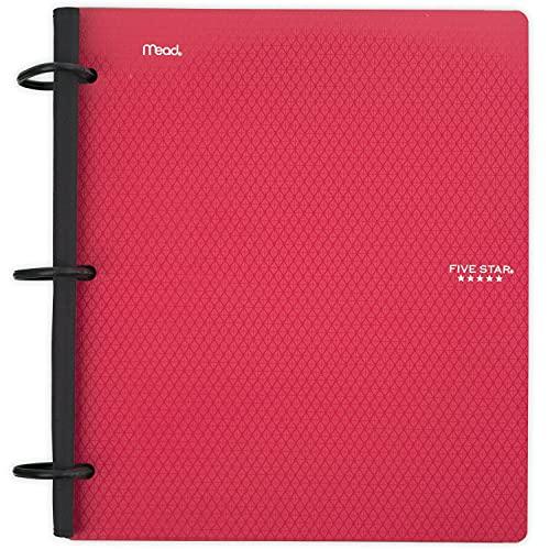 Fichário híbrido flexível Five Star, fichário de 3,8 cm, caderno e fichário dois em um, vermelho (29324AB2)