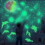 817 stelle luminose e luna fluorescente, adesivi murali autoadesivi per veicoli spaziali e delfini, molto adatti per l'uso nelle stanze dei bambini