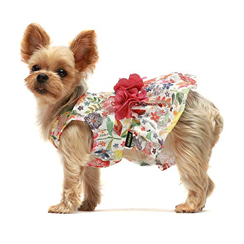 Fitwarm Flower Dog Dress for Pet Clothes Birthday Party Doggie Sundress Puppy Clothes Rose Pink Medium Delaware