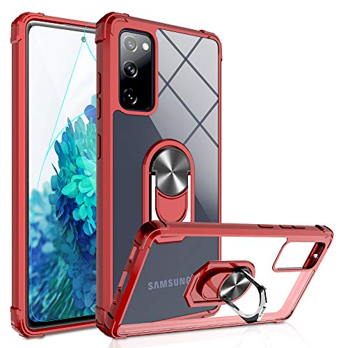 Galaxy S20 FE Case, S20 FE 5G Phone Case with HD Screen Protector, Gritup [Military Grade] Crystal Clear Transparent Hard PC TPU with Ring Kickstand Case for Samsung S20 FE Red