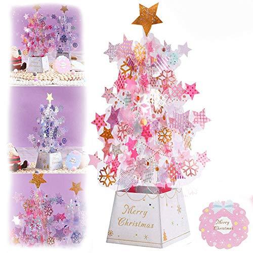 2PCS 3D Card Pop-Up Card Christmas Greeting Card Christmas Card Stars Xmas Gift (Pink)