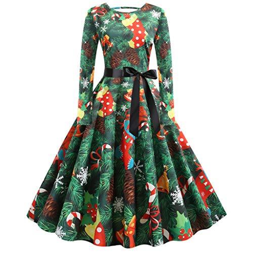 Zottom Vintage Plissee Langarm Weihnachten Abendkleid mit Damen Weihnachten Print Minirock Party Abendkleid(Grün,XXX-Large)