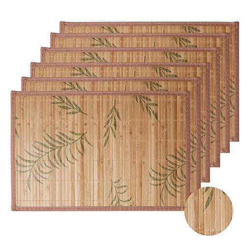 LOVECASA, Set de Table en Bambou 12 Pcs, Napperons Lavable, Antidérapant, Tapis de Table Résistant à la Chaleur
