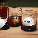 Twos Company Set of 2 Name Your Poison Old Fashion Glasses with Spherical Ice Molds in Gift Box