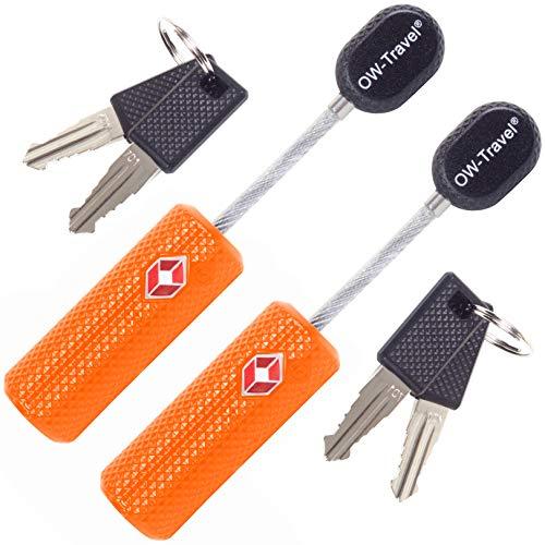 Kabel Schloss mit Schlüssel Kofferschloss Vorhängeschloss Gepäckschloss Sicherheitsschloss Schlüsselschloss TSA Lock Cable USA Schloss für Reise Koffer Spind Rucksack Luggage: 2er Set Orange