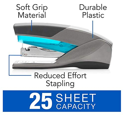 Swingline Stapler, Optima 25, Full Size Desktop Stapler, 25 Sheet Capacity, Reduced Effort, Blue/Gray (66404) - SWI66404 (3-Pack) Photo #3