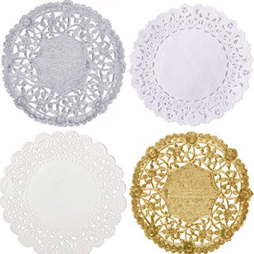 The Baker Celebrations Combo Pack 4-Zoll (10cm) Runde Papier Spitze Tabelle Deckchen Weiß Silber und Gold (packung mit 200) Mehrfarbig