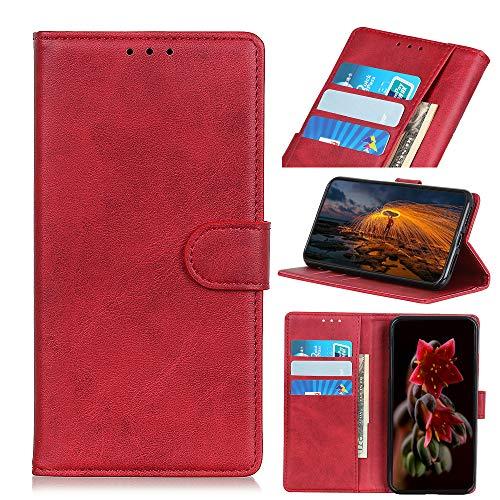 NEINEI Funda para Wiko Y81,Carcasa Textura de Piel de Vaca Diseño PU Cuero Libro Billetera con [Ranura para Tarjeta] [Cierre Magnético],Flip Phone Cover Case,Rojo