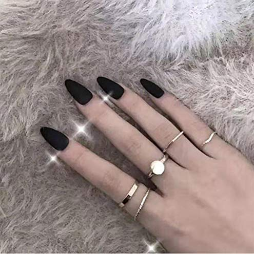 Acedre Almond Matte False Nail Press on Nails Black Pure Color Full Cover Fake Nails for Women and Girls