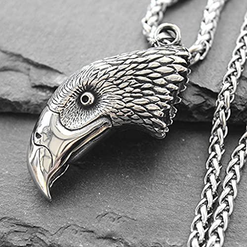 Nordic Viking 316 Acero Inoxidable Exquisito Hecho A Mano Dominante Retro De Doble Cara Tridimensional Cabeza De Águila Colgante Hombres Y Mujeres Collar De Joyería