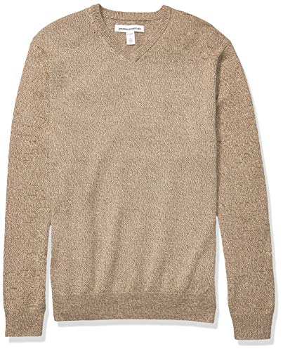 Amazon Essentials Men's V-Neck Sweater, Brown Marled Large