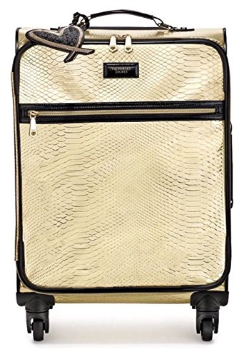 Great Deal! Victoria's Secret LIMITED EDITION Travel Suitcase Wheelie Carry-On, Gold Python