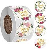 500 pegatinas de agradecimiento florales hechas a mano con flores, etiquetas adhesivas redondas con flores, para tarjetas de regalo, bodas, bricolaje sobre sellado de dulces y galletas (4 diseños)