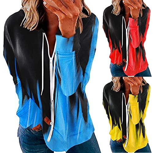 BIKETAFUWY Camiseta de manga larga para mujer, elegante, cuello en V, blusa, informal, floral, de manga larga, suelta, tallas grandes, camisas, blusas, ocio, manga larga, jersey de lino, azul, S