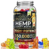 Hemp Gummies Premium 350,000 High Potency - Fruity Gummy Bear with Hemp Oil - Natural Hemp Candy...