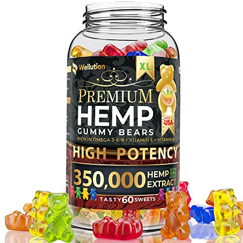 Hemp Gummies Premium 350,000 High Potency - Fruity Gummy Bear with Hemp Oil - Natural Hemp Candy Supplements for Pain, Anxiety, Stress & Inflammation Relief - Promotes Sleep and Calm Mood