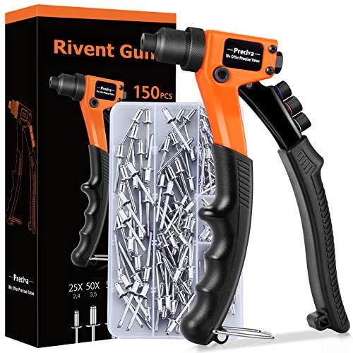 Remachadora Manual,Preciva Pistola Remachadora Profesional con 4 Cabezales de Codificación de Colores Intercambiables y Remaches de 150 Piezas para Metal,Madera y Plástico