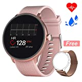 Bebinca Smartwatch Fitness Activity tracker Notifiche Facebook/Whatsapp Contapassi Pressione Sanguigna Cardiofrequenzimetro da polso per Android iOS Huawei + 1 Cinturino in metallo(Rosa)