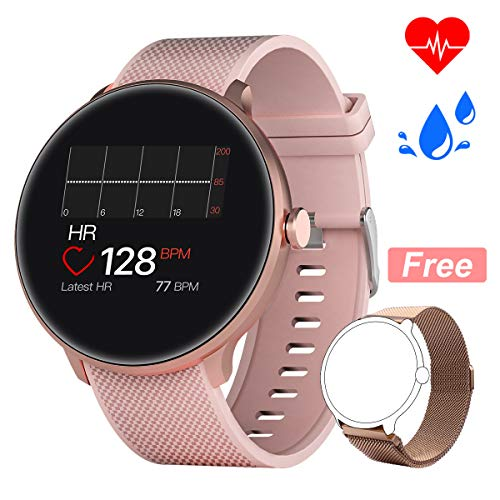 Bebinca Smartwatch Bluetooth5.0 Heart Rate&Blood Pressure Sleep Monitor Calorie Counter Long Battery Life+1Free strap