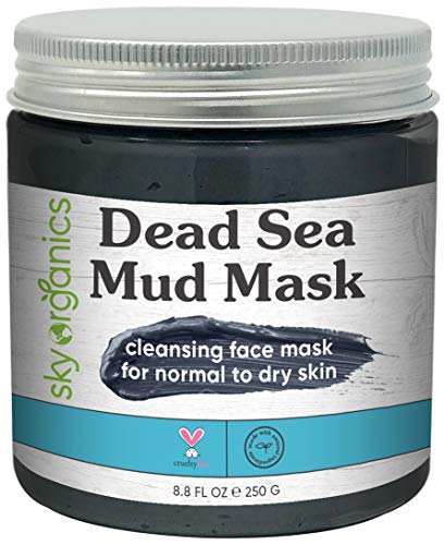 Dead Sea Mud Mask by Sky Organics (8 oz) For Face, Acne, Oily Skin & Blackheads - Best Facial Pore Minimizer, Reducer & Pores Cleanser Treatment - Natural Body Mud For Younger Looking Skin