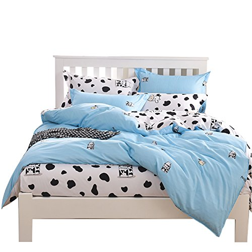YOUSA 4Pcs Cartoon Cow Print Duvet Cover Set Soft Reversible Comforter Cover Set for Toddler Teens Boys and Girls, with Hidden Zipper Closure, Queen Size