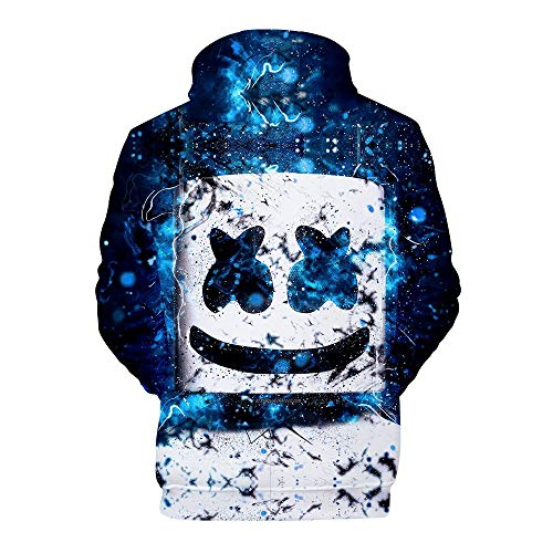LVTIAN Jungen Marshmello DJ Music Hoodie, Smiley Face 3D Print Casual Hip Hop Streat Mode Pullover Sweatshirts Kapuzenpullover, Marshmello Fans Print Hoodies (Color : 6, Size : S)
