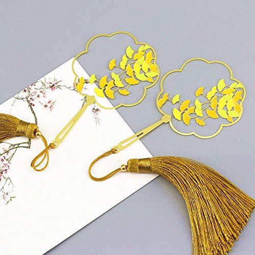 THTHT Vintage Bookmark Creatieve Metalen Ventilator Oppervlak Zijde Fringed Ginkgo Leaf Klassieke Chinese Stijl Student Office Kinderen Lezen Paar Gift Eenvoudige Mode 2 Stuk pak