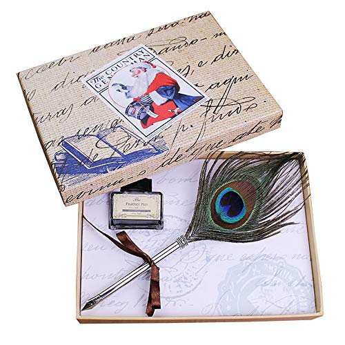 Featty Gifts Cool Stationery Set Natural Feather Dip Quill Pen and Ink for Writing (Christmas Peacock)