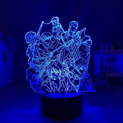 Lámpara de noche 3D Anime LED con manija de titanio para dormitorio infantil, decoración de cumpleaños, manga, ataque a la lámpara 3D de titanio ZMSY