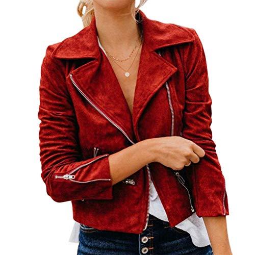 Onsoyours Mujer Chaqueta Cuero Chaqueta Motociclista Manga Larga Cremallera Cuero Sintético Abrigo Corto Solapa Prendas De Vestir Otoño Casuales Prendas Y Rojo L